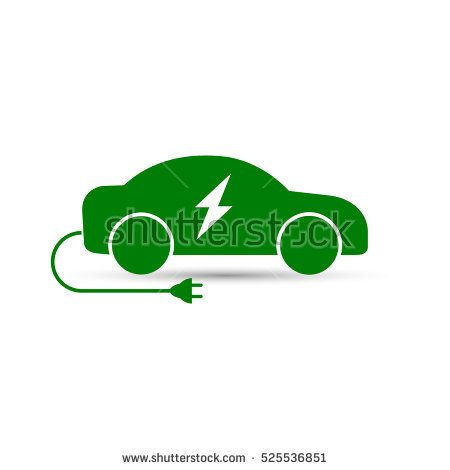 Electric Car Icon Vector Side View Of Electric Car Auto Electic