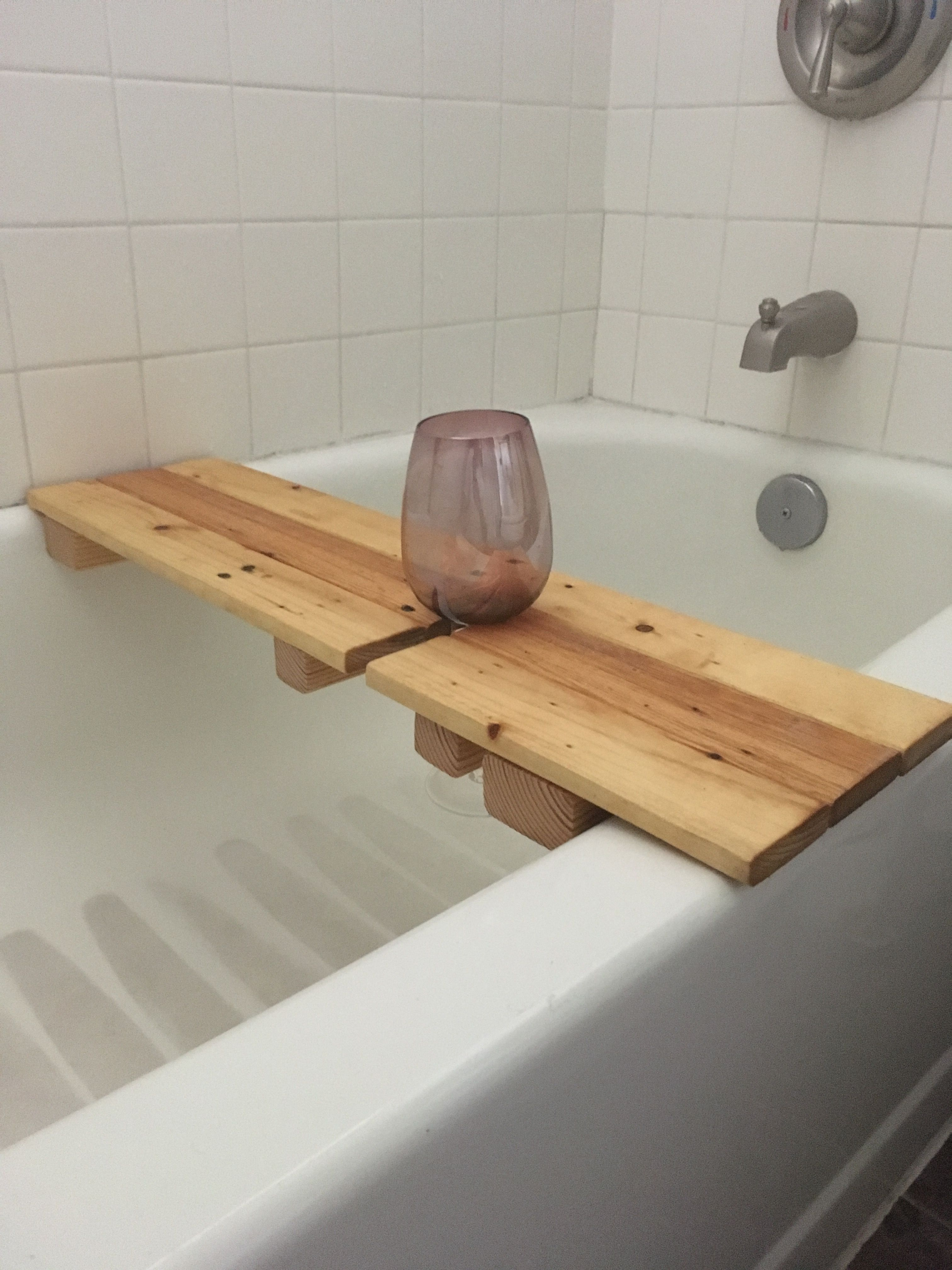 Wood bathtub caddie with wine holder, made from pallets. | Wood ...