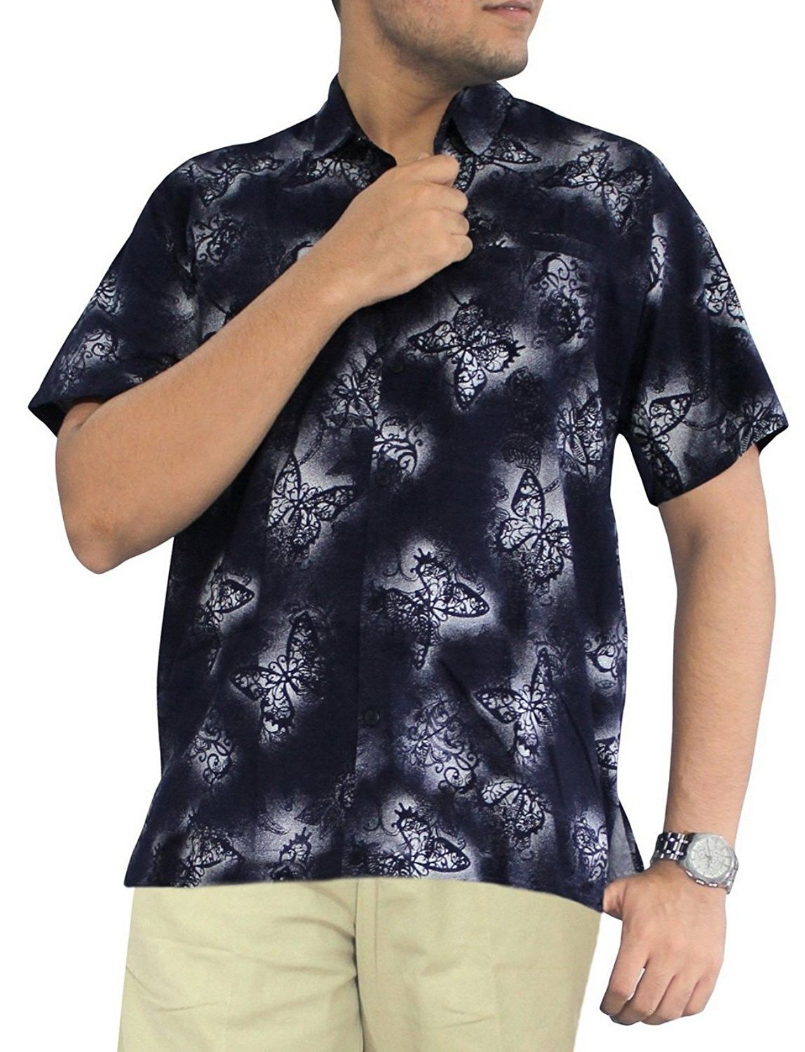 fe7e6e22 Men's Clothing, Shirts, Casual Button-Down Shirts, Aloha Hawaiian Tropical  Beach Solid Plain Mens Casual Short Sleeves Button Down Tropical Shirts XL  Blue ...