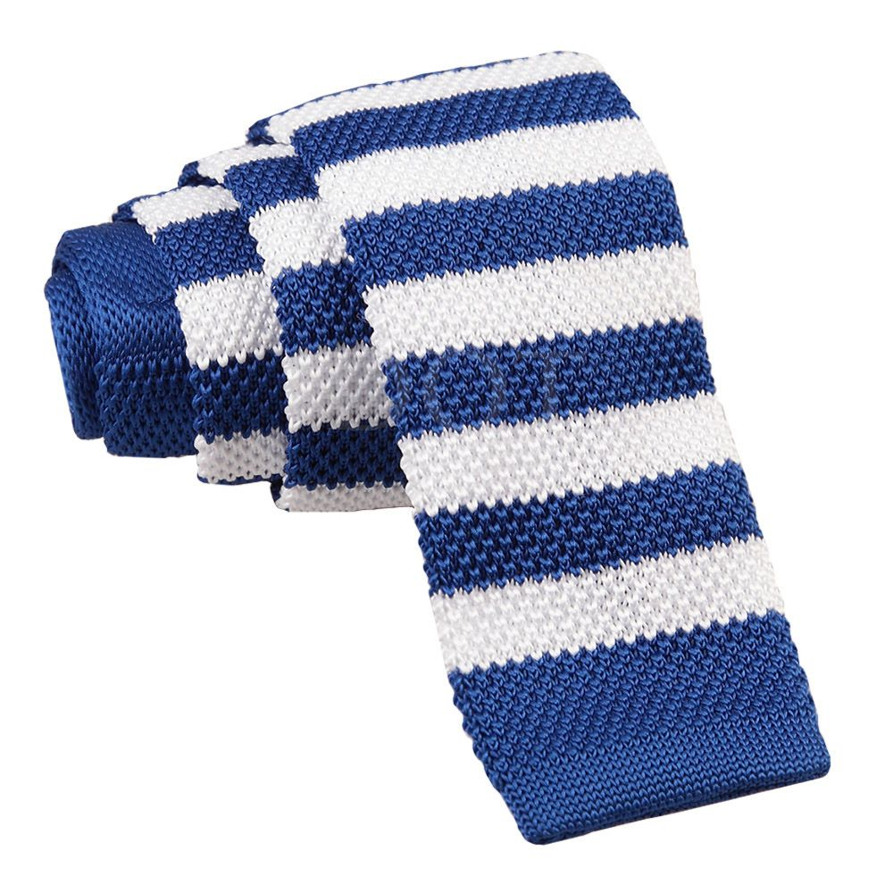 5a0a09498a43 Royal Blue & White Striped Knitted Skinny Tie | Men's Ties | White ...