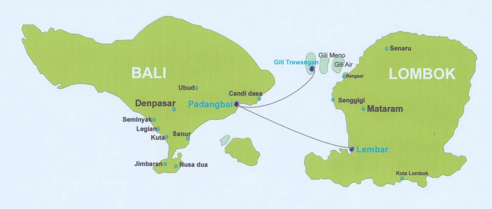 map of Bali, Lombok and the 3 Gili Islands, Gili Trawangan, Gili ...