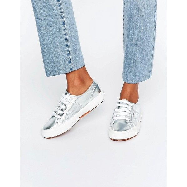 Superga Metallic Plimsoll Trainers In Silver ($82) ❤ liked on Polyvore  featuring shoes, sneakers, silver, superga shoes, canvas trainers, metallic  sneakers ...