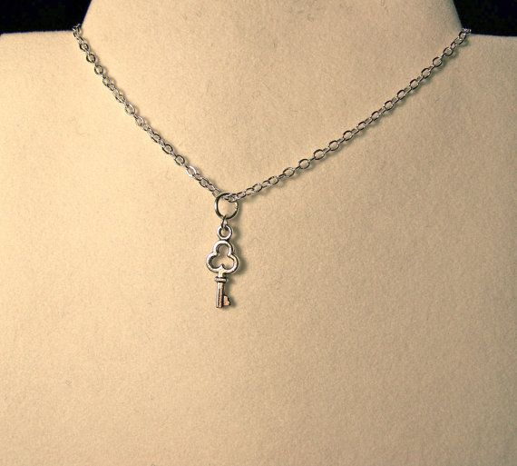 Choker Tiny key on delicate chain choker by CrystalinasCreations, $9.95