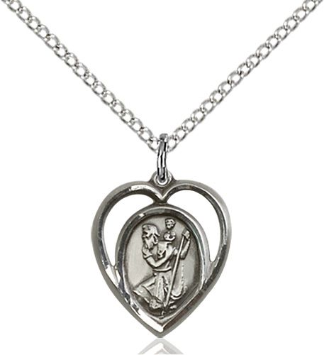sterling silver st christopher surrounded by heart pendant. Beautiful gift for communion or confirmation