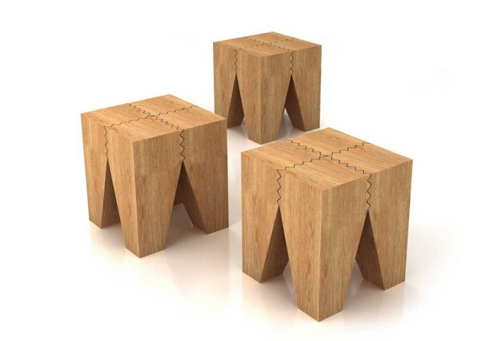 Sgabello In Legno Design : Sgabello in legno massiccio di rovere trattato con olio a base