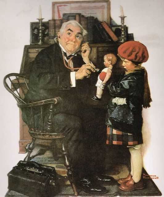 """A Boneca Doente""- Normal Rockwell Pintor norte-americano (1894-1978)"