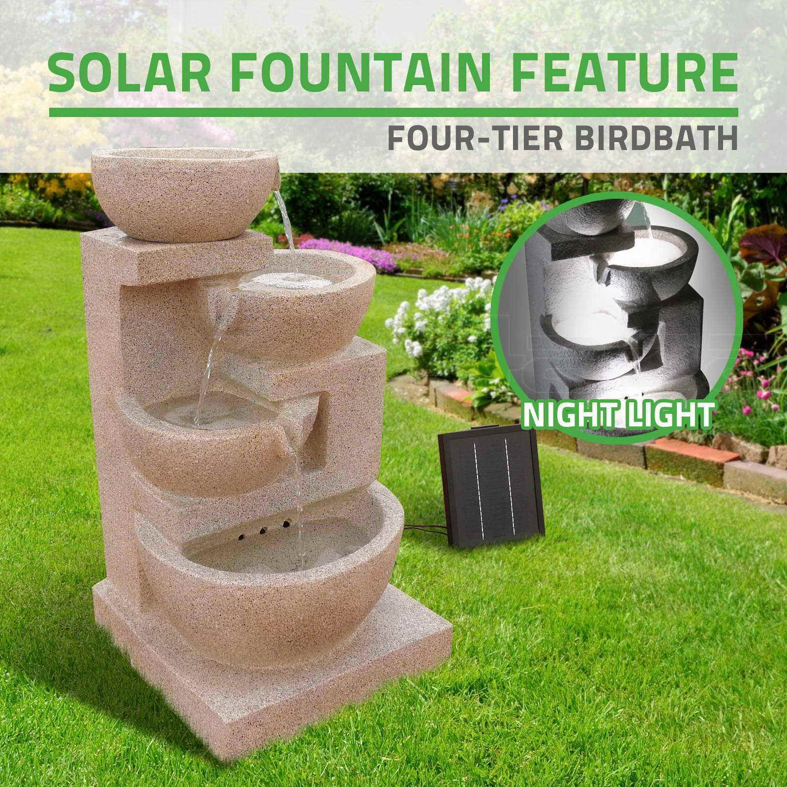 Solar Power 4 Tier Bird Bath Water Fountain LED Light Garden Feature ...