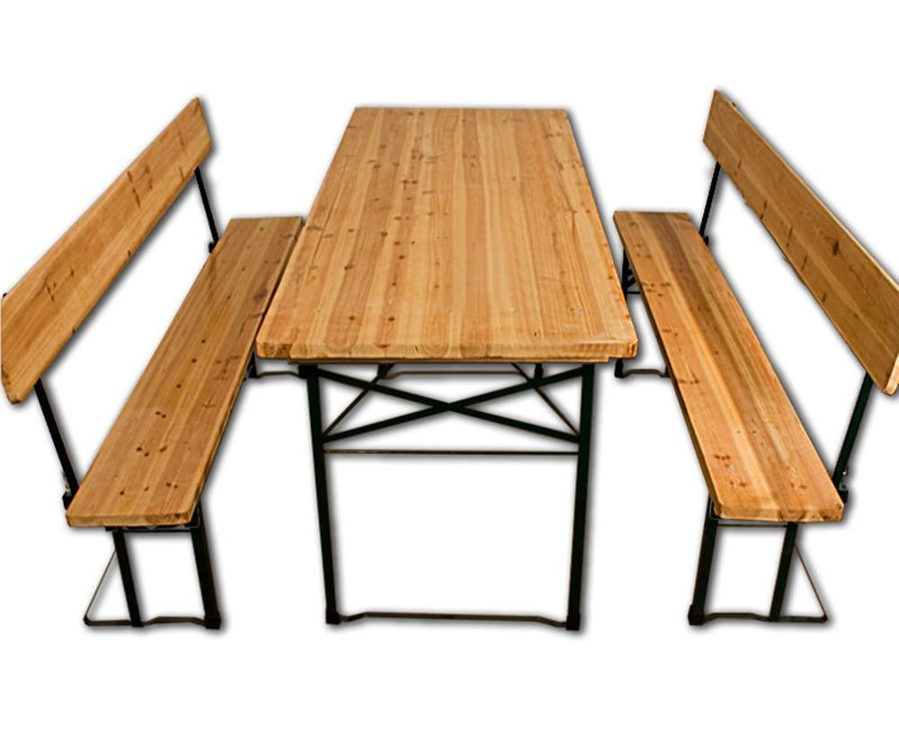 Garden Picnic Set Pine Wooden Foldable Benches Backrest Table ...