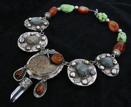 Necklace | Angela Blessing. 'Tales from the other side'  Sterling silver, ammonite, labradorite, amber, turquoise