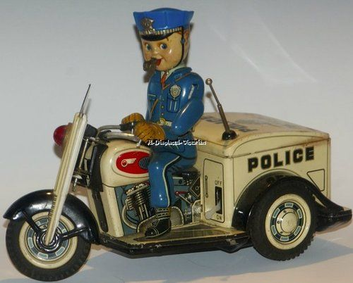 Vintage Japan Battery Operated Tin Toy Police Patrol 3 Large