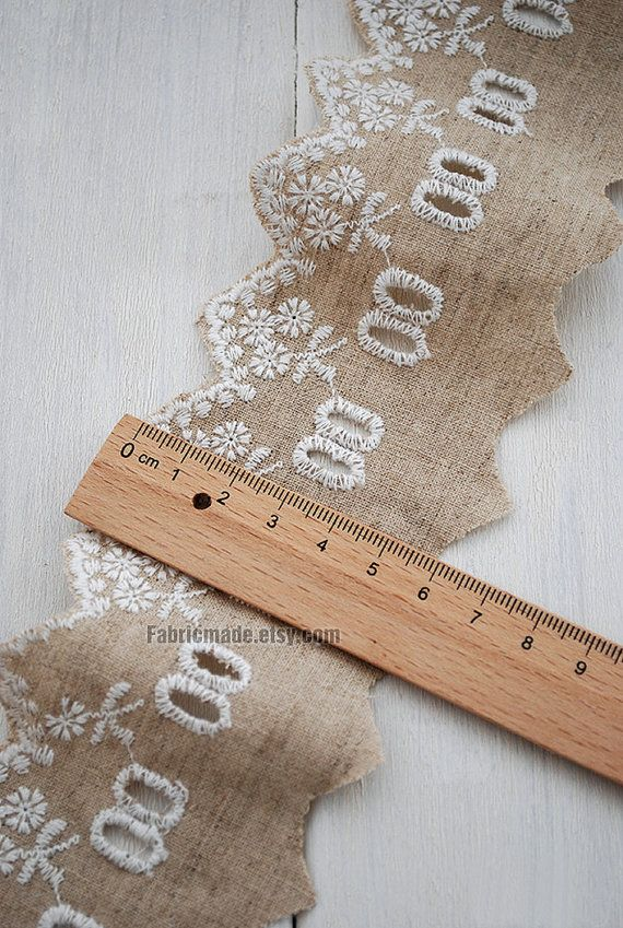 Hollowed Floral Lace Trim Cotton Linen Lace Eyelet by fabricmade, $3.80