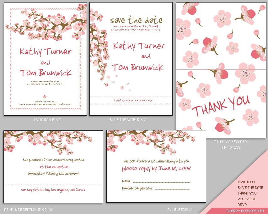 MUJKA CHERRY BLOSSOM WEDDING INVITATION SET Cherry Blossom