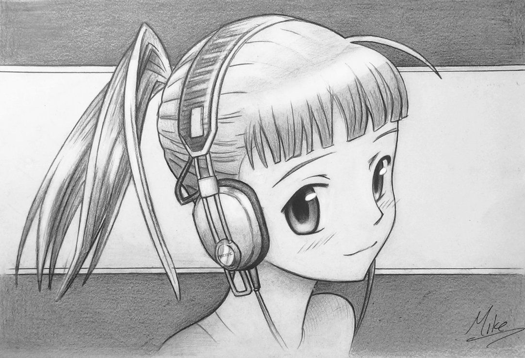 Manga Girl With Headphones By Mcorderroure On Deviantart Pictures To Draw Cute Easy Drawings Anime Art Tutorial