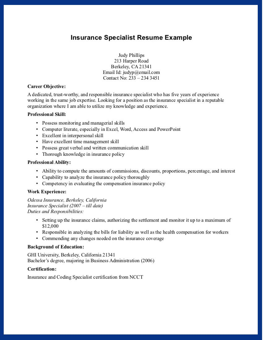 Social Insurance Specialist Sample Resume Product Developer The