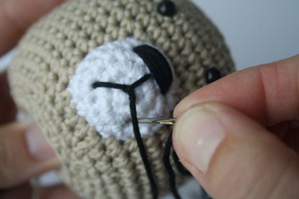 Amigurumi Bear Nose : How to stitch teddy bear nose tutorial amigurumi