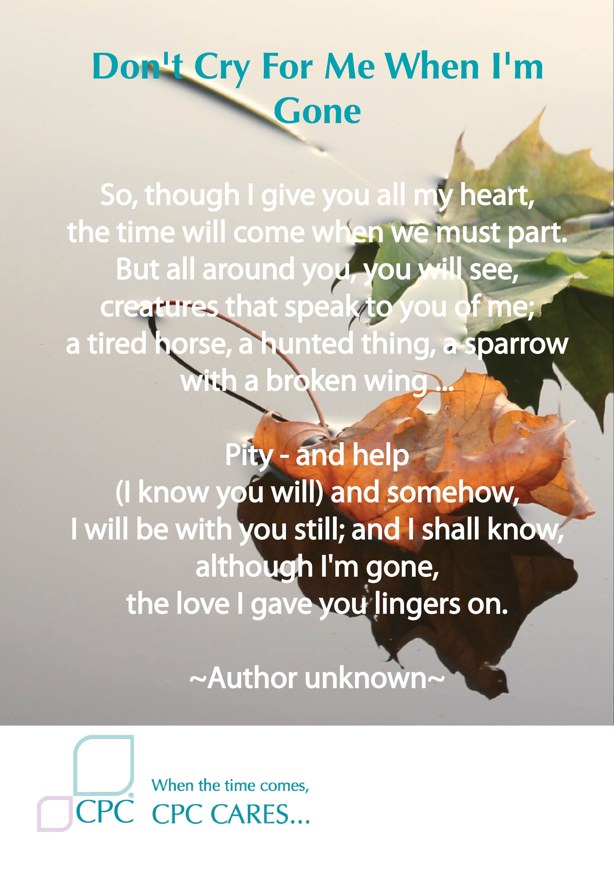 Pet Bereavement Poem Don T Cry For Me When I M Gone Pet Bereavement Pet Grief Pet Loss Grief