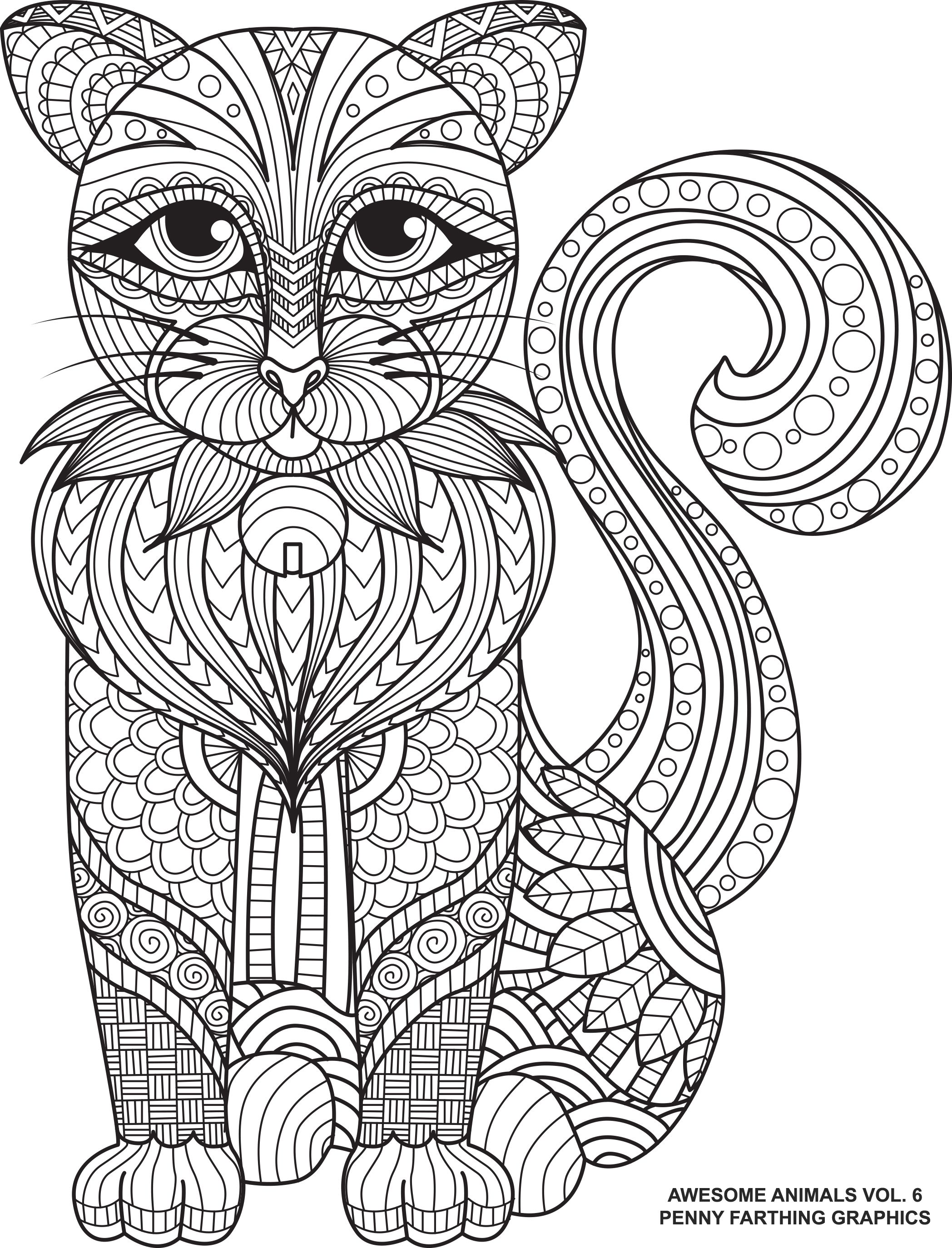 Kostenlose Ausmalbilder Katzen : Cat From Awesome Animals Volume 6 Animal Coloring Books