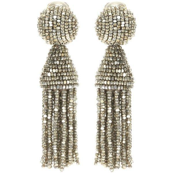 Oscar De La Renta Classic Long Chain Tassel Earrings in Metallics TBB56