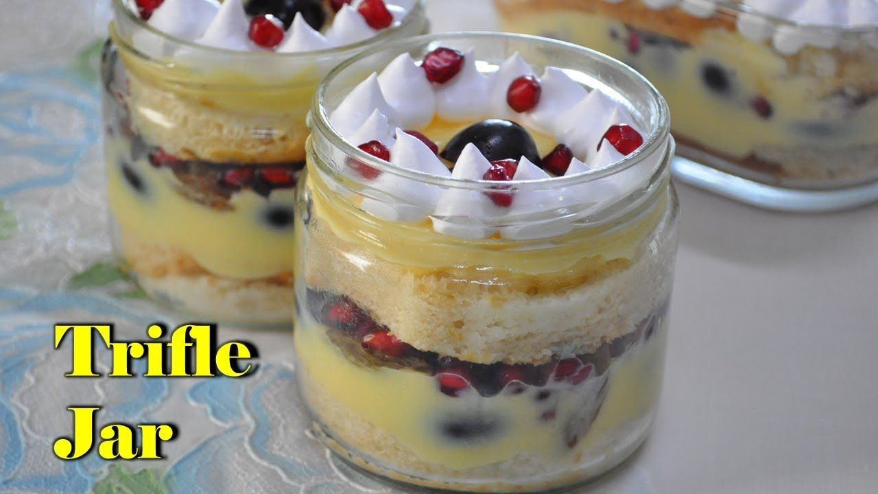 Eggless Trifle Pudding In A Jar Trifle Pudding Recipe Without Eggs Youtube Pudding Recipes Trifle Pudding Trifle