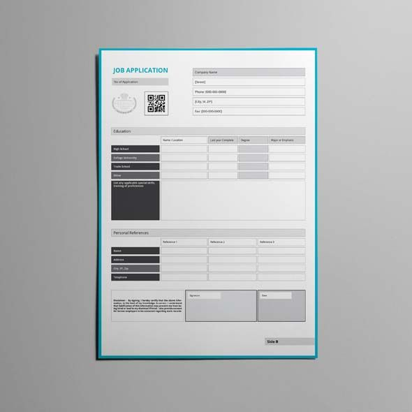 Job Application Form CMYK \ Print Ready Clean and Contemporary - employment application forms