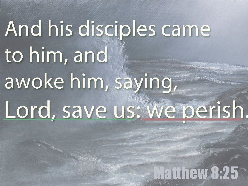 """""""Lord, save us"""" - that was faith.  """"we perish"""" - this is doubt. The wind will drive me if I give it my attention."""