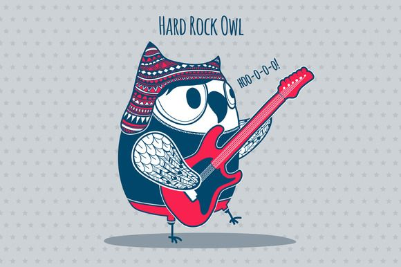 Hard Rock Owl Owl Illustration Owl Hard Rock