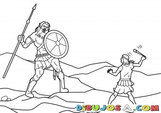 David Y Goliat Para Colorear Colorear Biblicos Dibujo Para