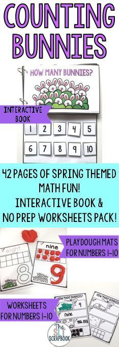 Counting Bunnies Numbers 1-10- Interactive Book and Worksheets Pack ...