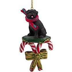 black pug candy cane christmas ornament by conversation concepts