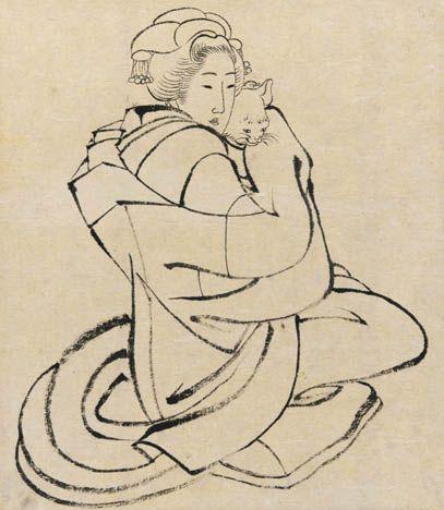 Katsushika Hokusai(葛飾北斎 Japanese, 1760-1849) Lady Holding a Cat 1810's Ink on paper