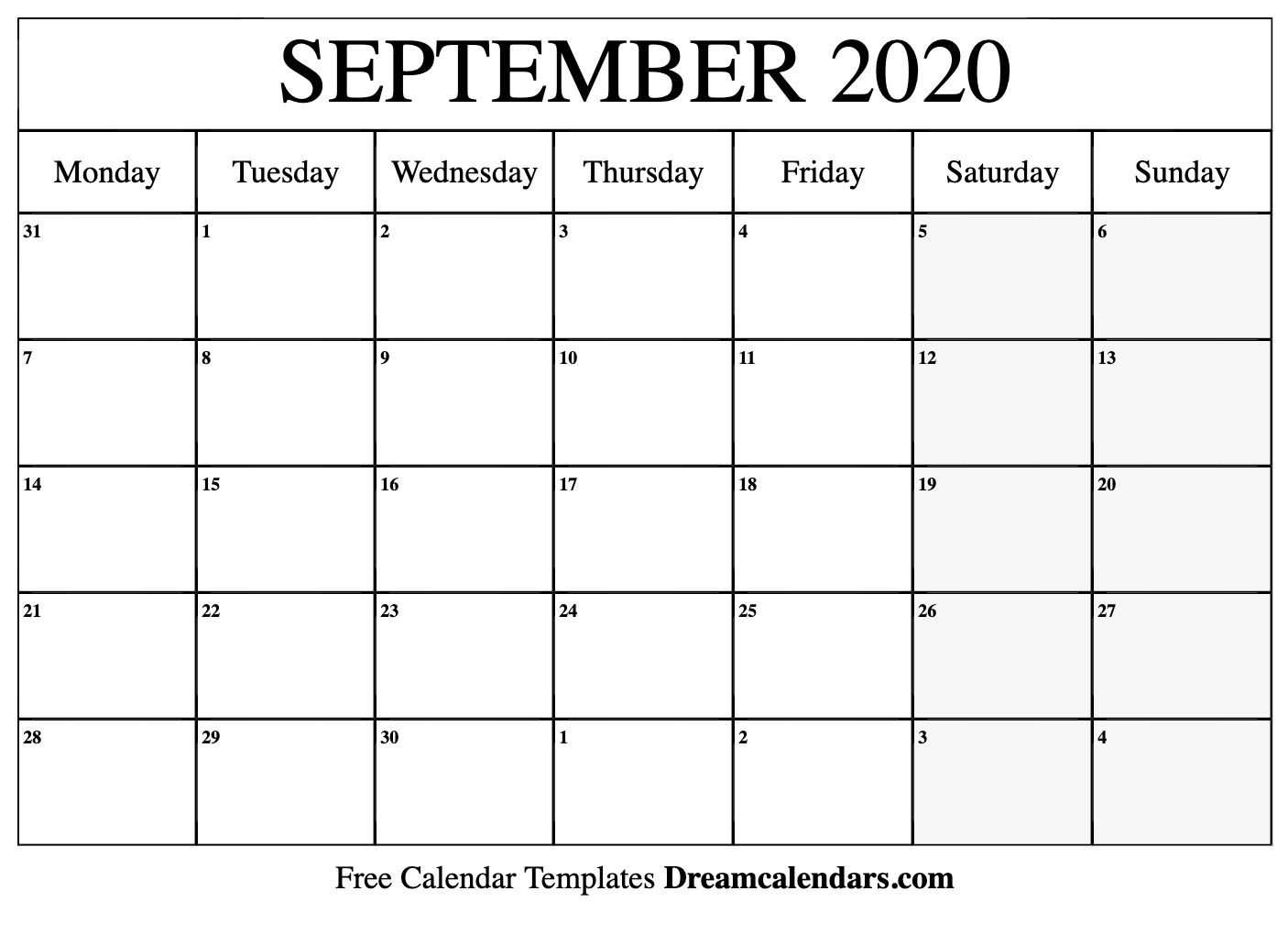 September 2020 Calendar Printable Monday Dream Calendars In 2020 Monthly Calendar Printable Calendar Printables Calendar Template