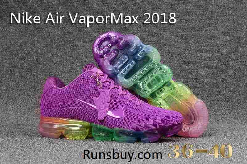 e52b62c5fc9ff Nike Air VaporMax 2018 KPU Purple Rainbow Sole Women Shoes | Shoes ...