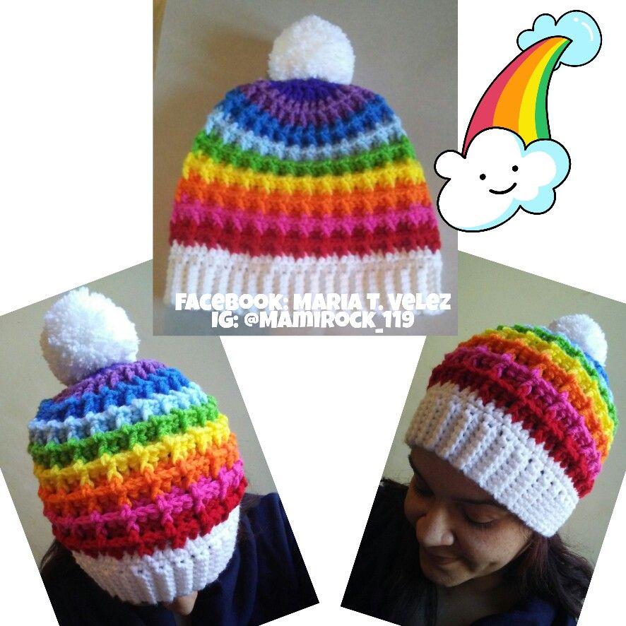 91a825385 Colorful Rainbow Crochet Waffle stitch Pom Pom slouchy Beanie Hat ...