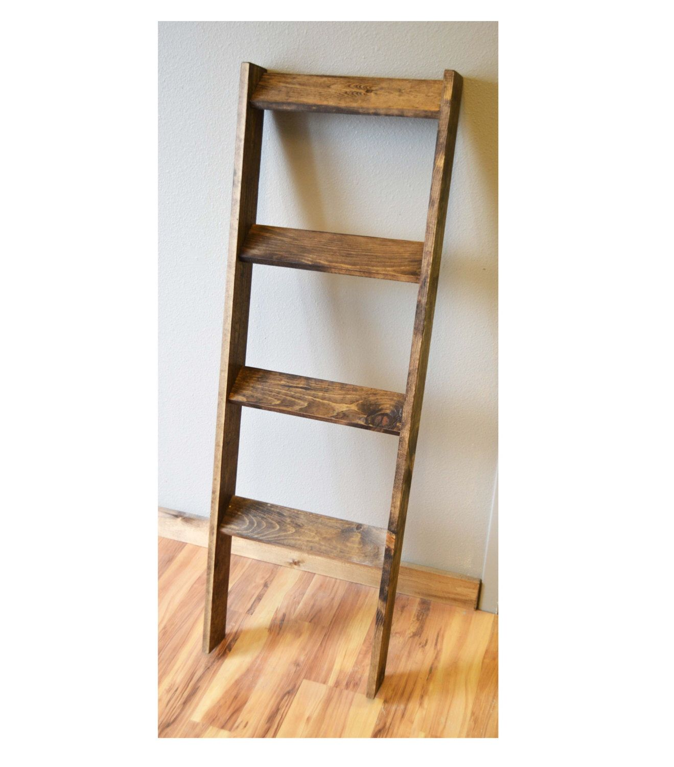 Rustic weathered blanket ladder winter decor gift for her