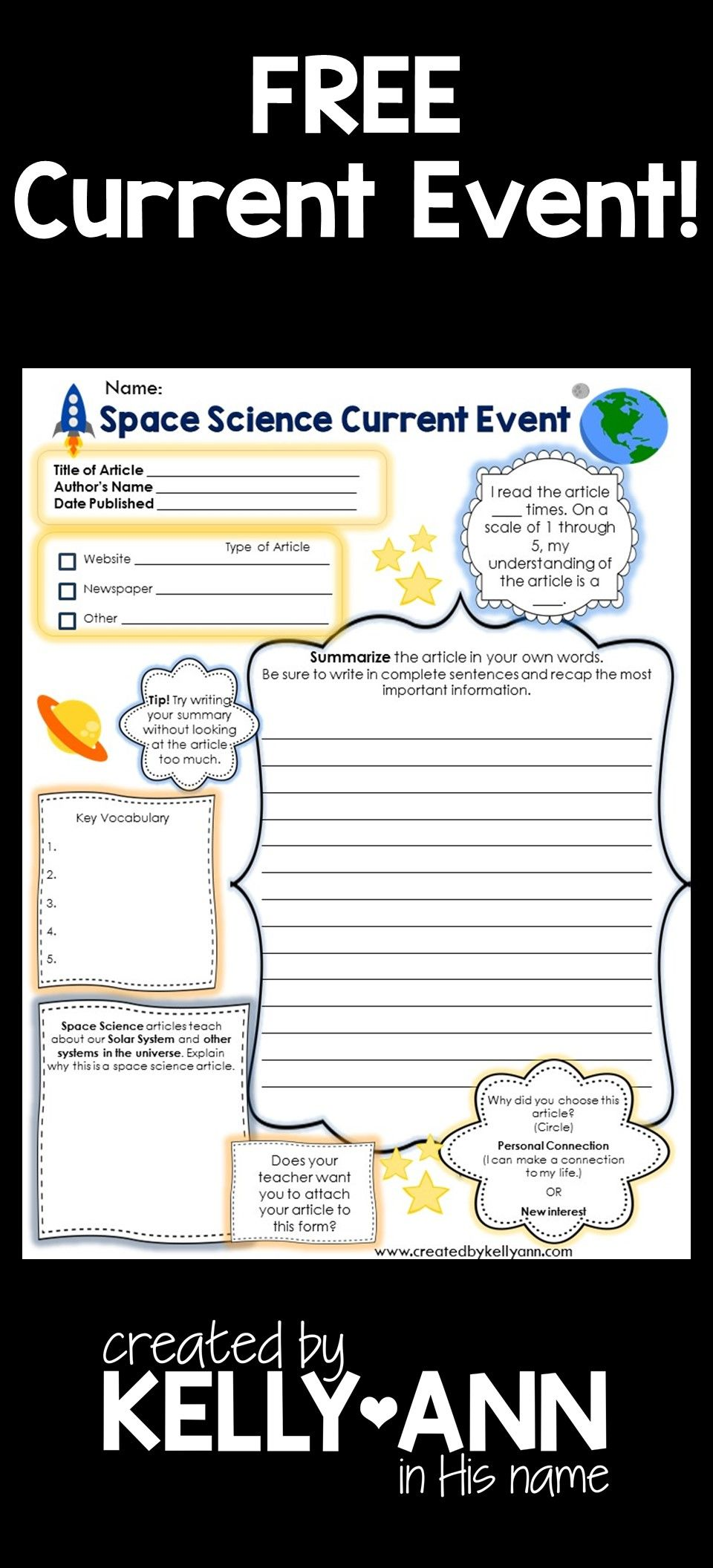 Current Event Worksheet Space Science Science Social