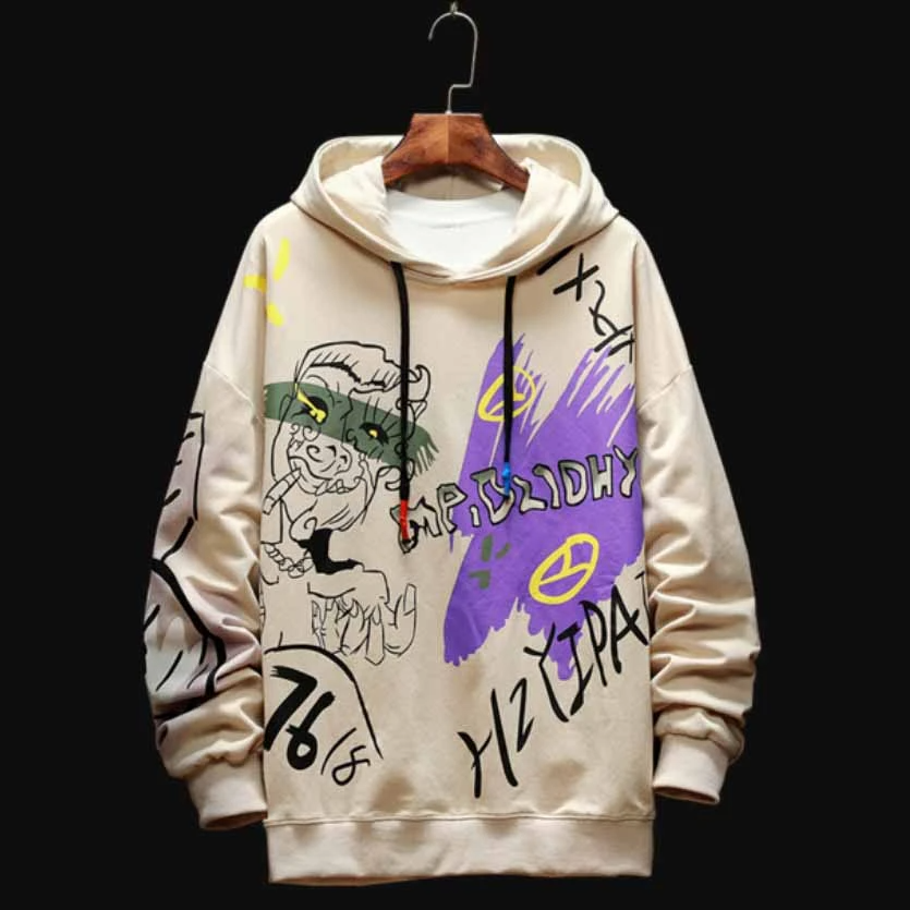 Black Sweatshirt Graffiti Hip Hop Harajuku in 2020