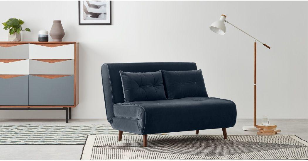 Haru Small Sofa Bed Sapphire Blue Velvet Sofa Bed Design Small Sofa Single Sofa