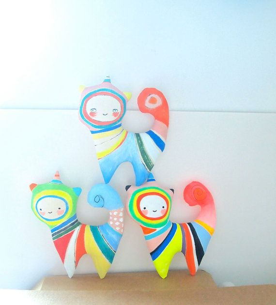 Rainbow cat painted canvas art doll wall by JessQuinnSmallArt