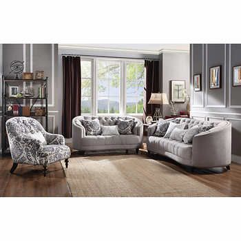 32c80f2f5054 Allenberg Grey Fabric 3-piece Living Room Collection Includes  Grey fabric sofa  and loveseat with patterned fabric chair Accent cushions with removable ...