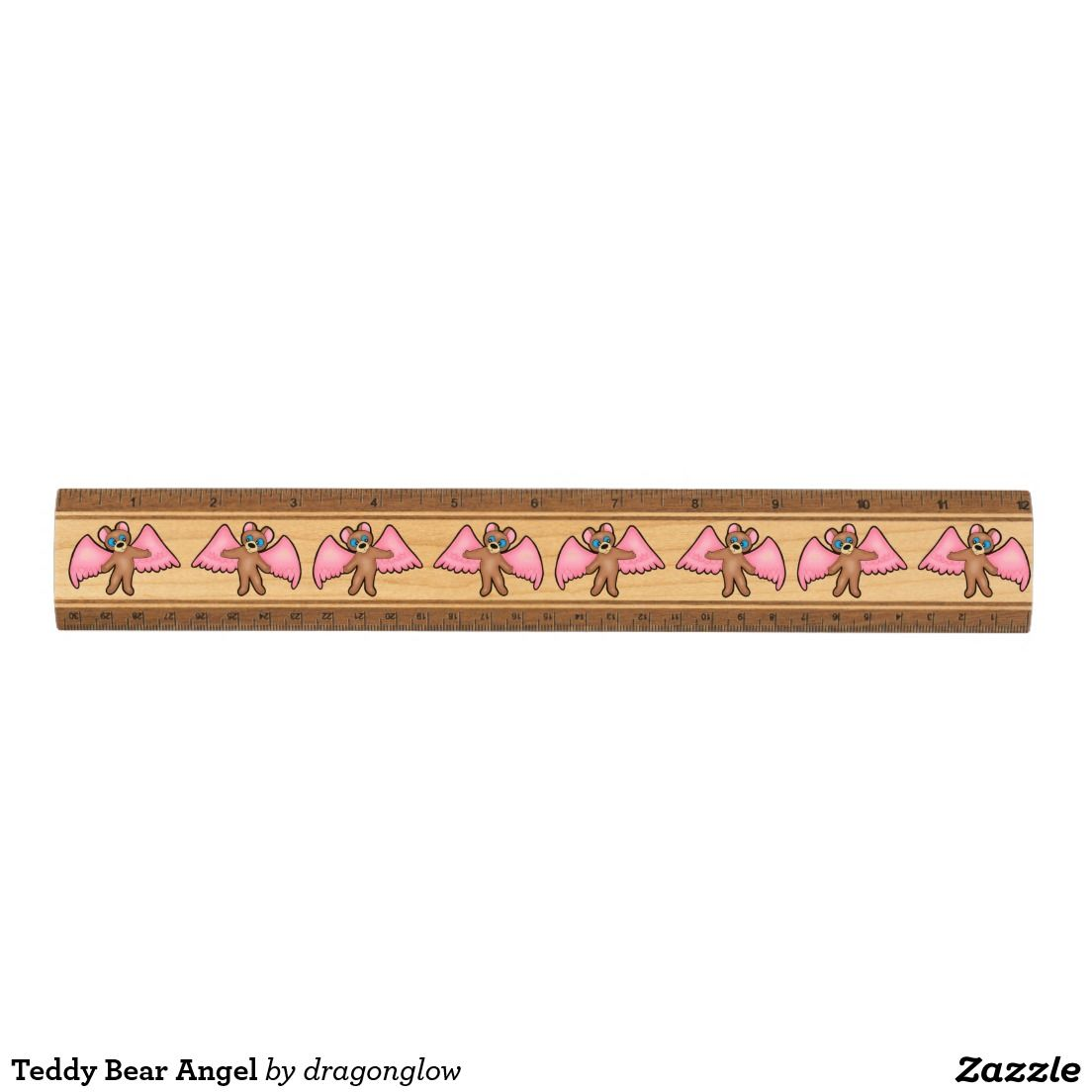 Teddy Bear Angel Digital Art Wood Ruler by DragonGlow - Amber Armstrong on Zazzle