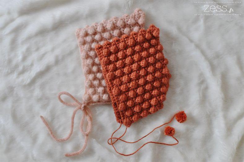 468d0db9f0c9 TUTO crochet   béguin à pompons (+diagramme   DIY   Pinterest ...