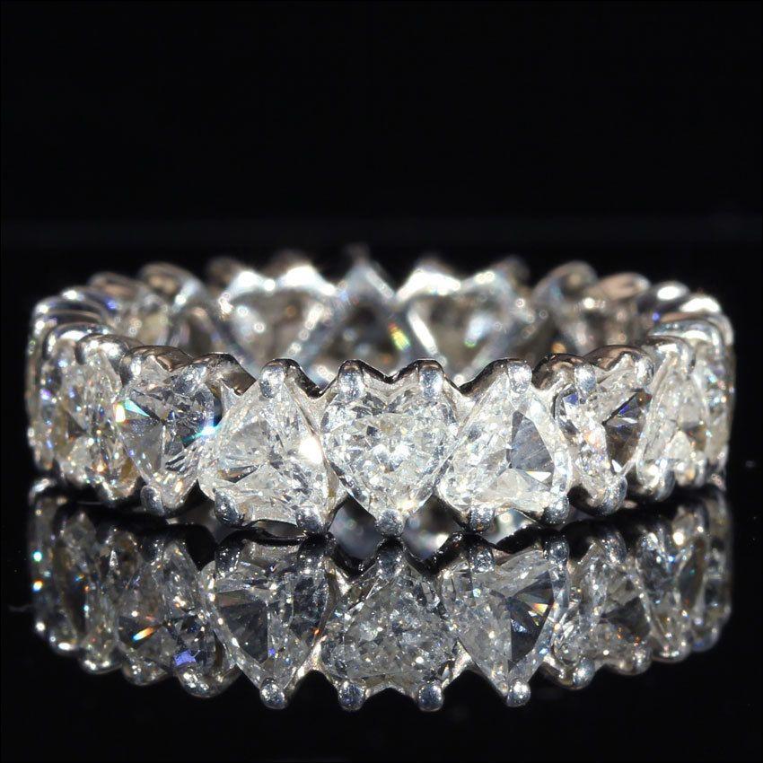 5.00 Ct Diamond Heart Shape 14K White Gold Over Full Eternity Wedding Band Ring