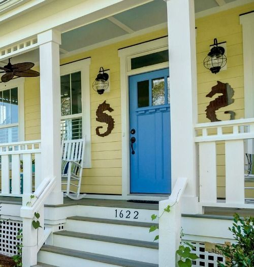 Coastal Nautical Decorations For The Front Door Entry Shop The Look Yellow House Front Door House Front Door House Exterior