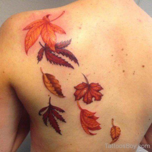 Herbst Blatt Tattoo Auf Der Ruckseite Blatt Tatowierungen