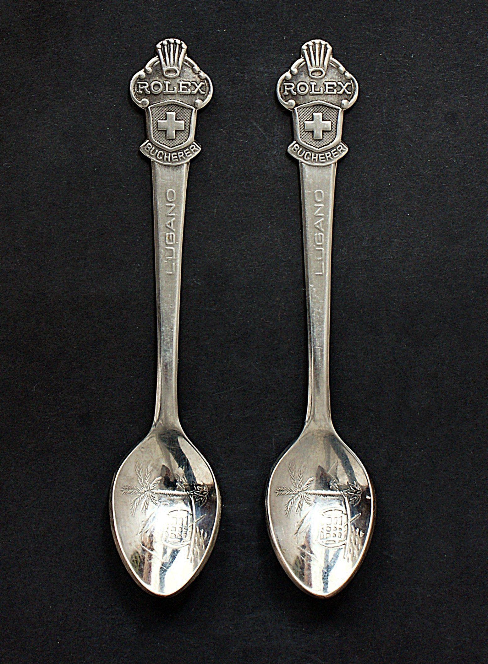 Pair Of Vintage Rolex Bucherer Lugano Silver Plate Souvenir Etsy Vintage Rolex Lugano Rolex