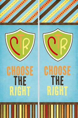 """Free printable Bookmarks 2012 Primary Theme, """"Choose the Right."""""""