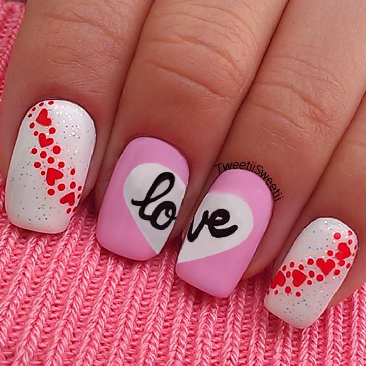 Valentines day nail art tweetiisweetii nailed it pinterest valentines day nail art ideas part ii hand painted love nail design with tiny hearts dots solutioingenieria Images