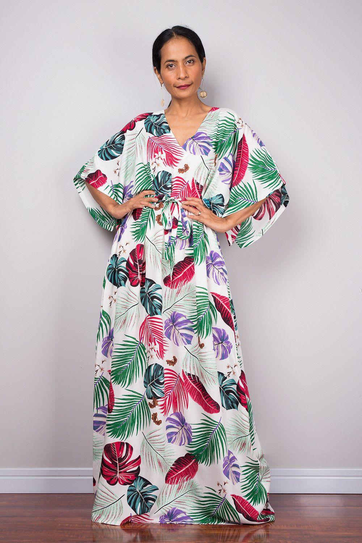 b3dc39ac6be6d Boho Floral Summer Kaftan Maxi Dress, Tropical loose fit holiday resort  dress with pockets, Handmade cotton women's dress, Leaf print dress