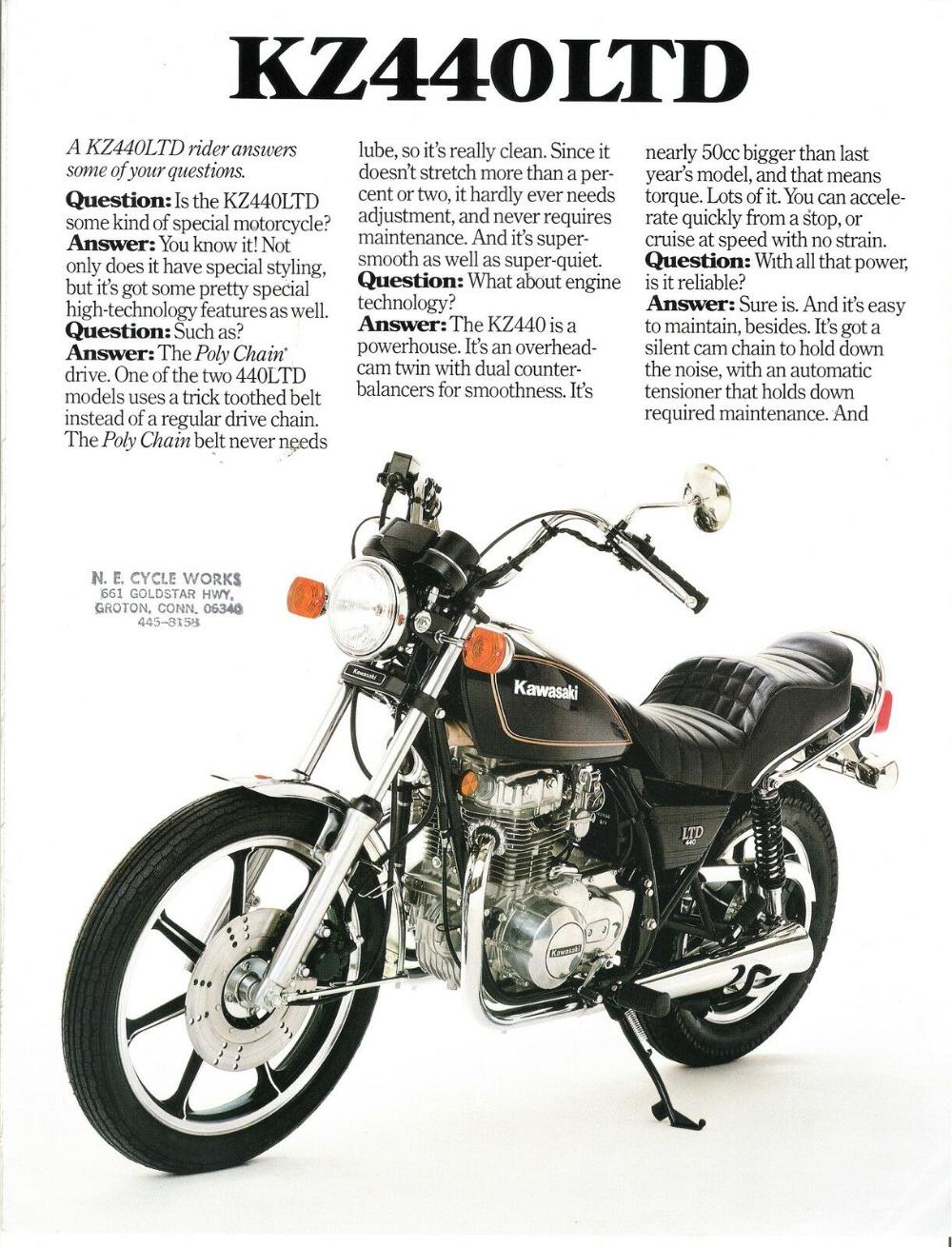 Kawasaki Us Sales Brochure Kz440 Ltd Z440 1980 Ebay Bobber Bikes Norton Motorcycle Kawasaki