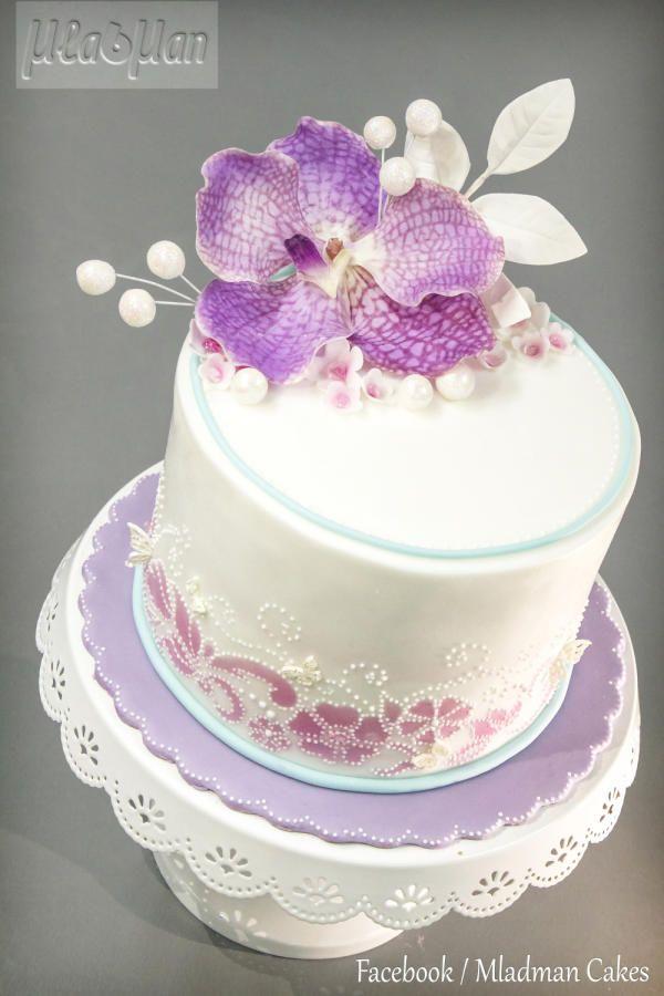 Purple Orchid Cake Orchid Cake Wedding Cake Fresh Flowers Orchid Wedding Cake